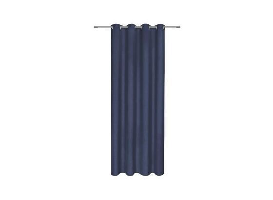Závěs S Kroužky Ulli - tmavě modrá, textil (140/245cm) - Mömax modern living