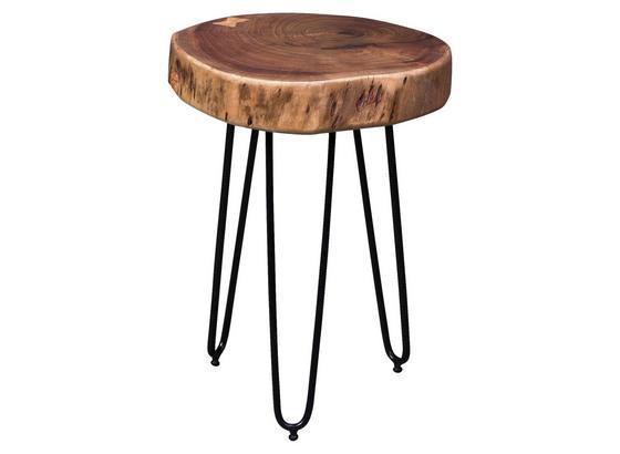 Beistelltisch Bagli D: ca. 35 cm - Schwarz/Akaziefarben, Design, Holz/Metall (35/35/45cm) - Carryhome