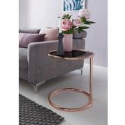 Beistelltisch mit Glasplatte Rund, Beine Kupferfarben - Kupferfarben, Design, Glas/Metall (45/53/45cm) - Livetastic