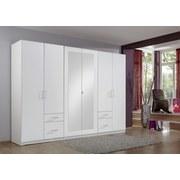 Drehtürenschrank mit Spiegel + Laden 270cm Fly, Weiß - Weiß, Design, Glas/Holzwerkstoff (270/210/58cm) - MID.YOU