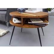 Couchtisch Holz mit Ablageflächen, Sheesham - Sheeshamfarben/Schwarz, MODERN, Holz/Metall (60/60/50cm) - MID.YOU