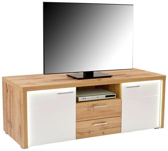 Tv - Elem Eleganza - Tölgyfa/Fehér, modern, Faalapú anyag (160,5/54/49,5cm)