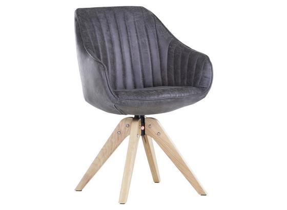 Stolička S Područkami Chill - farby dubu/tmavosivá, drevo/textil (60/83/50/65cm) - Premium Living