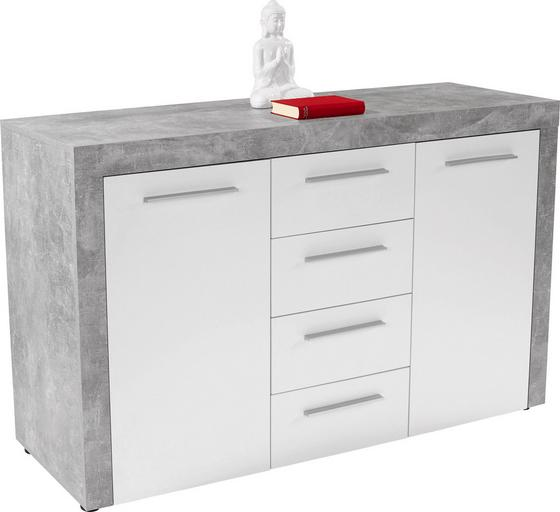 Kommode Focus B:149cm Beton Optik/ Weiß Dekor - Weiß, MODERN, Holzwerkstoff (149/86/45cm)