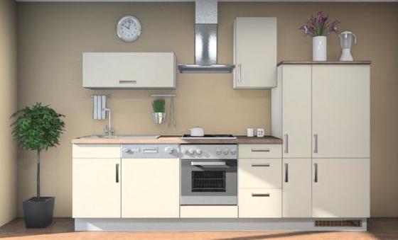 Küchenblock Lara 310 cm Magnolie/eiche Dekor - Eichefarben/Magnolie, MODERN, Holzwerkstoff (310cm) - Vertico