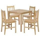 Tischgruppe 5-Teilig Massiv 70x70cm Wl5, Kiefer - Kieferfarben, Basics, Holz (70/70/73cm) - Carryhome