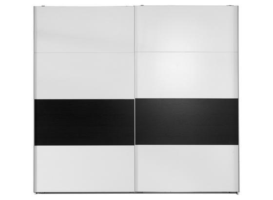 Schwebetürenschrank 225cm Bert, Weiß/ Schwarzeiche Dekor - Graphitfarben/Weiß, KONVENTIONELL, Holz/Holzwerkstoff (225/210/65cm)