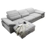 Ecksofa mit Schlaffunktion + Bettkasten Coletta, Webstoff - Silberfarben, MODERN, Textil (195/321cm) - MID.YOU