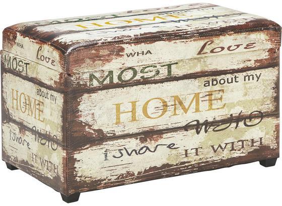 Truhlica Home - viacfarebná, drevo/textil (65/42/40cm)