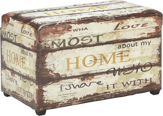 Truhlica Home - viacfarebné, drevo/textil (65/42/40cm)