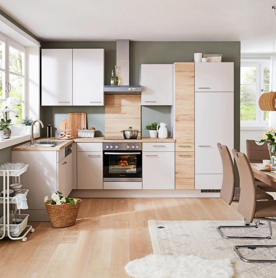 Rohová Kuchyň Santiago/riga - barvy dubu/světle šedá, Lifestyle, dřevěný materiál (305cm) - Vertico