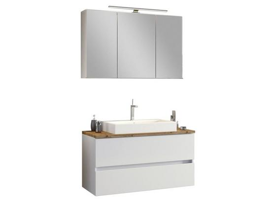 Badmöbel-Set 2-Tlg. inkl. Led Pienza B: 100 cm, Weiß - Eichefarben/Weiß, Basics, Keramik/Holzwerkstoff (100/200/48cm) - Livetastic
