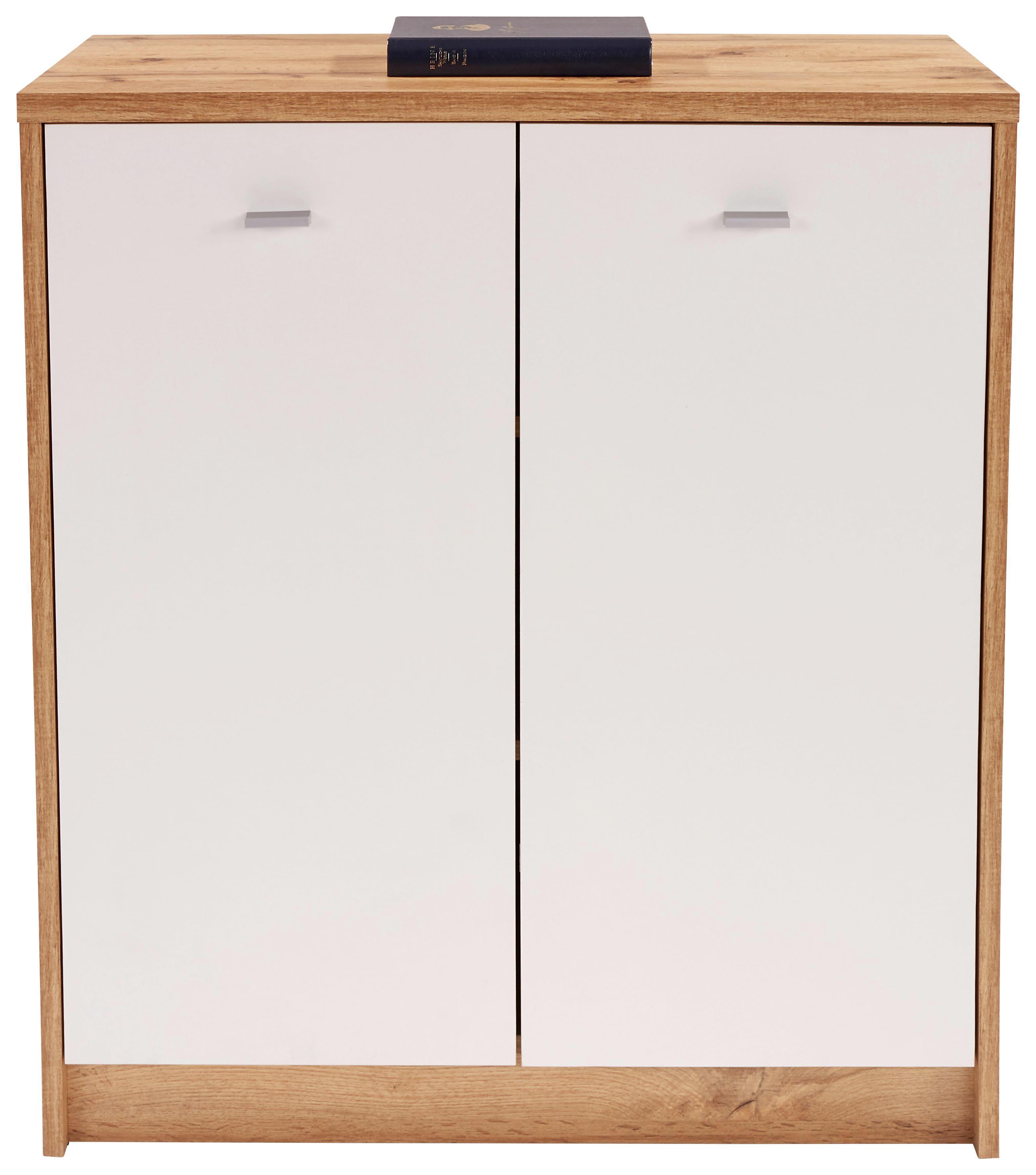 Komód 4-you New Yuk03 - tölgy színű/fehér, modern, faanyagok (74/85,4/34,6cm)