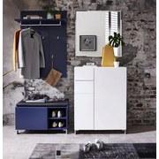 Garderobenbank K2 B: 80 cm Blau - Blau/Anthrazit, Design, Holzwerkstoff/Textil (80/48/39cm) - Xora