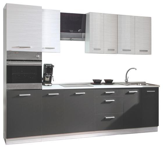 Konyhablokk Margaret - sötétszürke/fehér, modern, faanyagok (240cm)