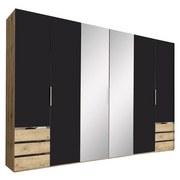 Drehtürenschrank mit Spiegel + Laden 300cm Level 36a, Graphit - Eichefarben/Graphitfarben, MODERN, Glas/Holzwerkstoff (300/216/58cm) - MID.YOU
