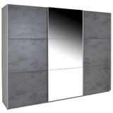 Schwebetürenschrank Malta B:270cm Haveleiche/beton Dekor - Dunkelgrau/Eichefarben, MODERN, Glas/Holzwerkstoff (270/210/60cm)