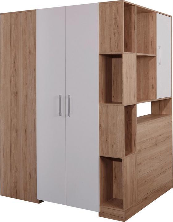 Sarokszekrény Box - Tölgyfa/Fehér, modern, Faalapú anyag (150/205/120cm)
