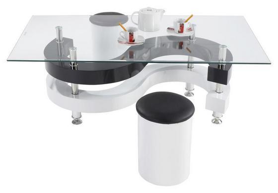 Glas-Couchtisch Mamba mit 2 Hockern - Schwarz/Weiß, LIFESTYLE, Glas/Holzwerkstoff (125/45/70cm)