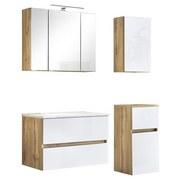 Badmöbel-Set 4-Tlg. inkl. Led Helsinki, Weiß/Eiche - Eichefarben/Weiß, KONVENTIONELL, Glas/Holzwerkstoff (120cm) - MID.YOU