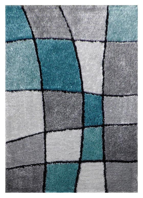 Koberec S Vysokým Vlasom Fancy 3 - sivá/tyrkysová, Konvenčný, textil (120/170cm) - Mömax modern living