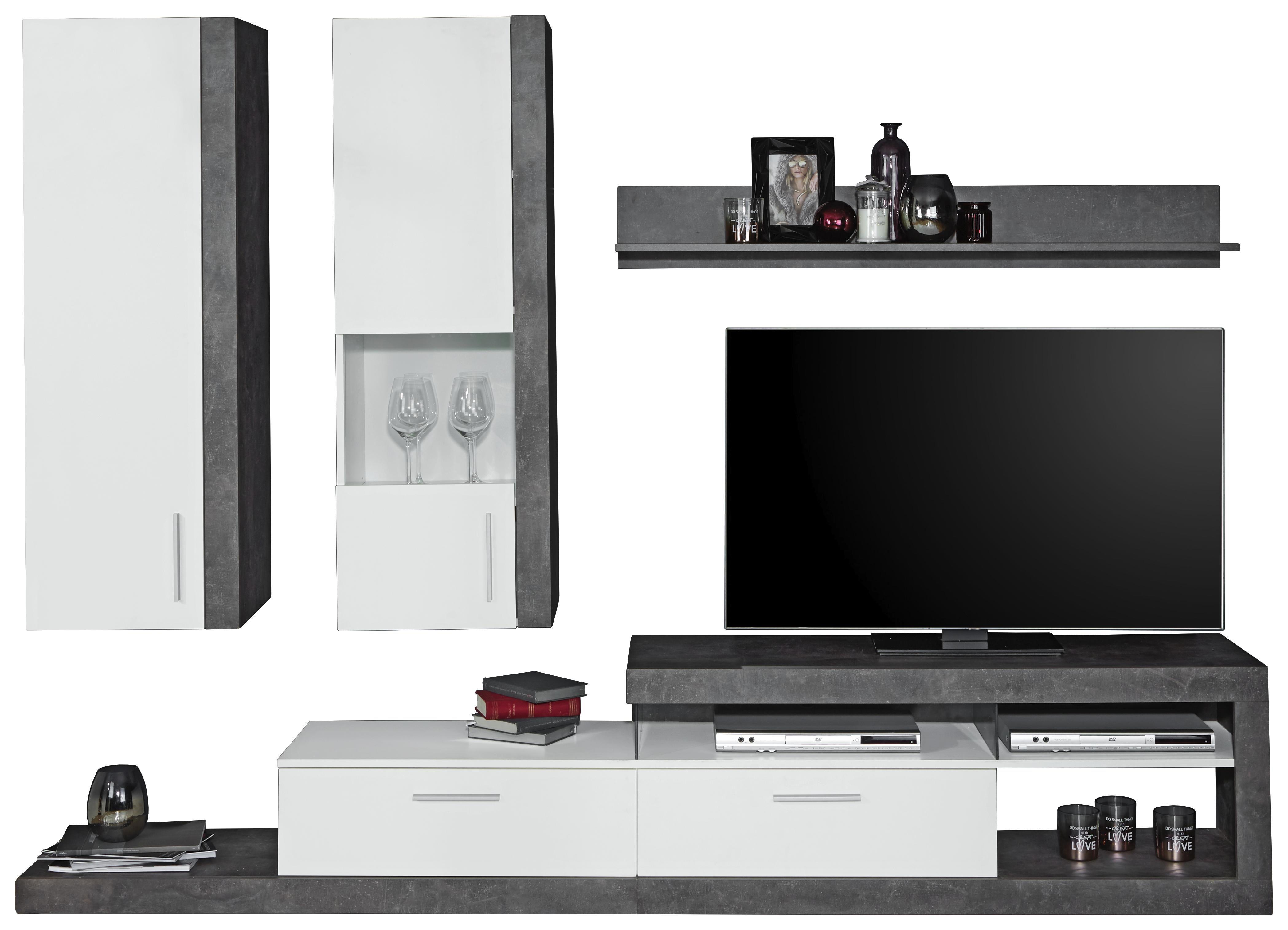 Obývací Stěna Iguan - bílá/tmavě šedá, Moderní, kompozitní dřevo (260/191/42cm)