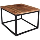 Couchtisch Holz Massiv Industrial, Mangoholz B:70cm - Schwarz/Braun, MODERN, Holz/Metall (70/70/48cm)