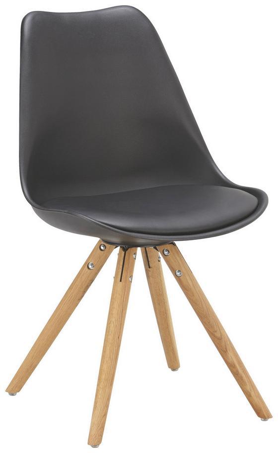 Židle Lilly - barvy dubu/černá, Moderní, dřevo/umělá hmota (47/81/52cm)