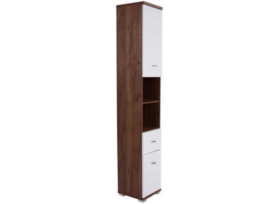 Vysoká Skriňa Bari - farby dubu/biela, Konvenčný, kompozitné drevo (35,5/190/31,5cm)