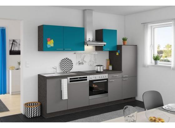 Küchenzeile Win/plan 280 cm Anthrazit/türkis online kaufen ➤ Möbelix
