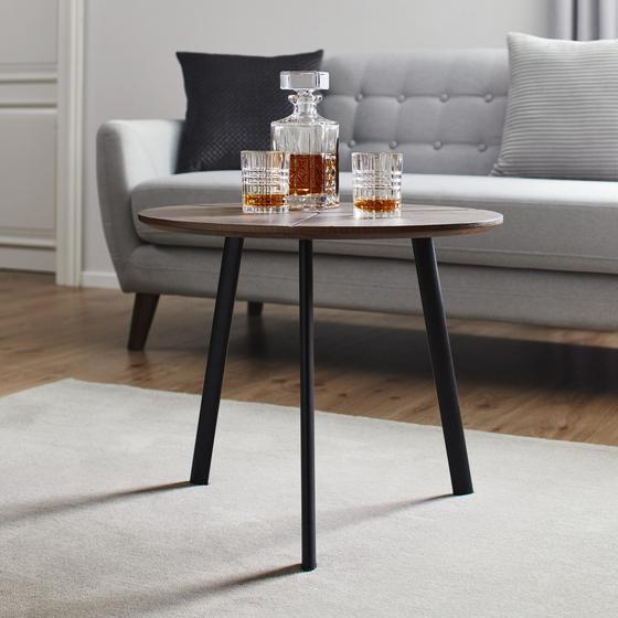 Konferenční Stolek Henrik - černá/barvy vlašských ořechů, Basics, kov/dřevo (60/51cm) - Modern Living
