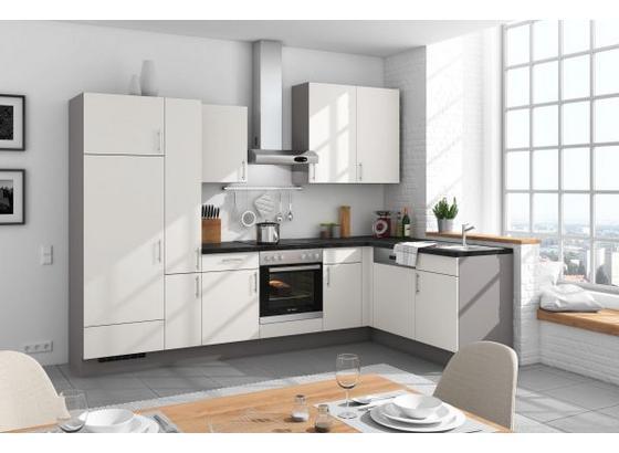 Eckküche Santiago 305x175 cm Weiß/mineralgrau - Weiß/Grau, LIFESTYLE (305/175cm) - Vertico