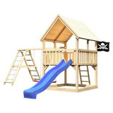 Spielturm Toni Set XL - Blau/Naturfarben, Holz (200/345/200cm) - Karibu