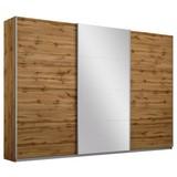 Schwebetürenschrank Belluno 271 cm Wotan/spiegel - Eichefarben, MODERN, Holzwerkstoff (271/230/62cm)