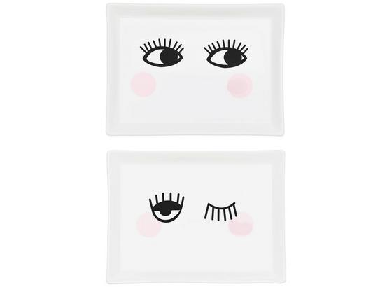 Plytký Tanier Eyes - čierna/biela, keramika (20,4/15,1/2cm) - Mömax modern living