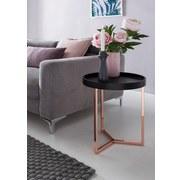 Beistelltisch mit Abnehmbarer Tischplatte, Schwarz + Kupfer - Schwarz/Kupferfarben, Design, Holz/Holzwerkstoff (40/51/40cm) - Livetastic