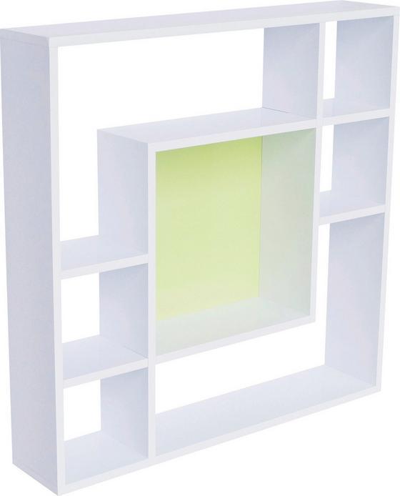 Regál Nástěnný Silvia - bílá/zelená, Moderní, dřevěný materiál (75/75/15cm)