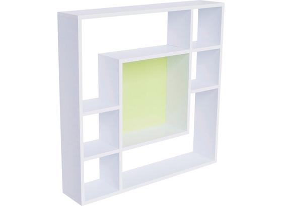 Regál Nástěnný Silvia - bílá/zelená, Moderní, kompozitní dřevo (75/75/15cm)