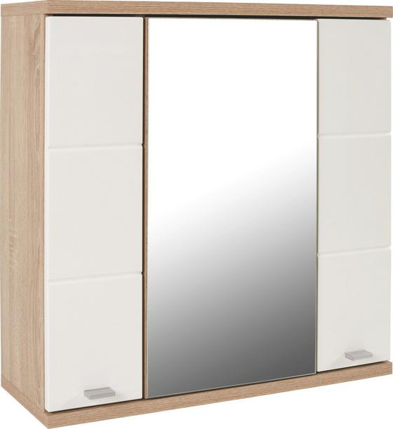Skříňka Se Zrcadlem Feeling Fls01 - bílá/barvy dubu, Konvenční (70/70/25cm)