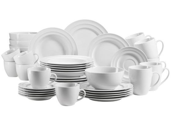 Kombiservice Valas 42 Tlg. für 6 Personen - Weiß, Basics, Keramik - Mäser