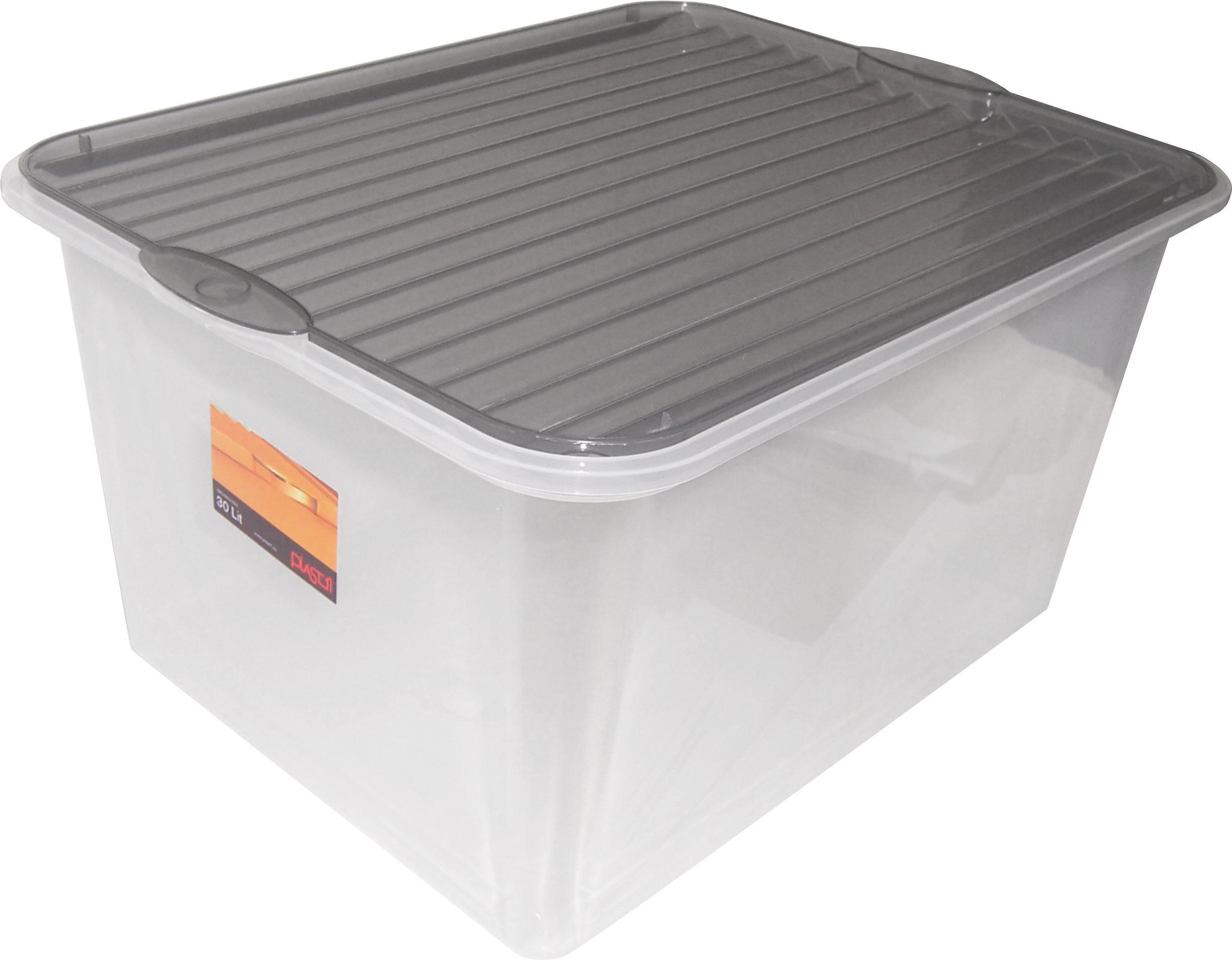 Tárolódoboz Műanyag - tiszta, konvencionális, műanyag (48/36/25,5cm)