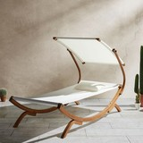 Relaxační Lehátko Curtys - barva teak/krémová, Moderní, dřevo/textil (224/108/150cm) - MODERN LIVING