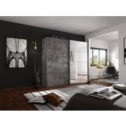 Schwebetürenschrank Belluno B:226cm Stone Dekor/ Spiegel - Grau, MODERN, Holzwerkstoff (226/210/62cm)
