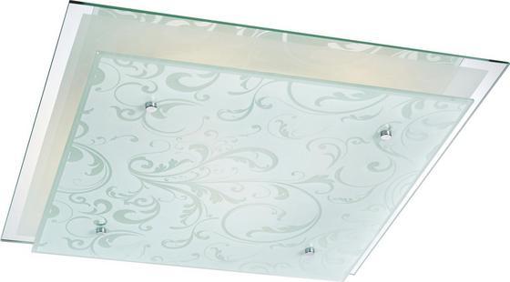 Deckenleuchte Britt - Weiß, KONVENTIONELL, Glas/Metall (44/44/9cm) - James Wood