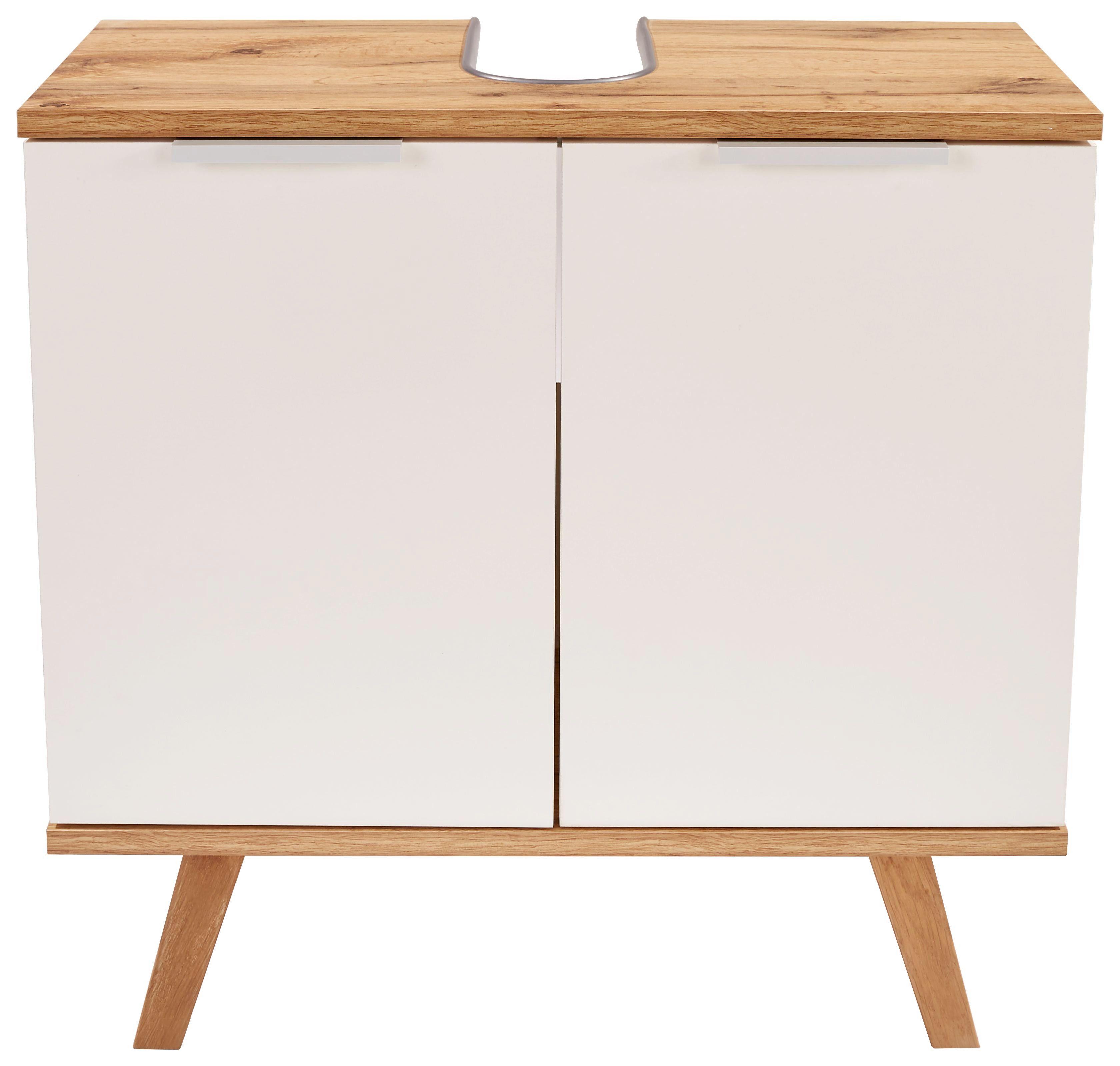 Waschbeckenunterschrank 60cm, Weiß/wotan Eiche Dekor - Weiß, MODERN, Holzwerkstoff (60/60/30cm)