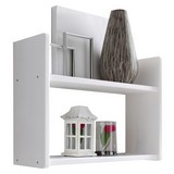 Wandregal Mona B: 60 cm Weiß - Weiß, Basics, Holz (60/45/20cm) - Livetastic