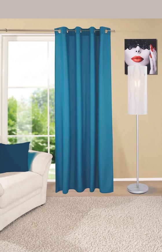 Ösenvorhang Ocean - Blau, KONVENTIONELL, Textil (140/245cm) - Ombra