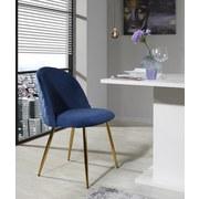Stuhl Artdeco Samtbezug Blau Gepolstert - Blau/Goldfarben, MODERN, Textil/Metall (51/79/58cm) - MID.YOU