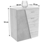 Kommode Venedig B:80cm Wotan Eiche Dekor/Betonoptik - Eichefarben/Dunkelgrau, MODERN, Holzwerkstoff (80/92/35cm)