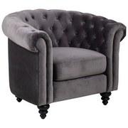 Chesterfield-Sessel Charlietown B: 99 cm Grau - Schwarz/Grau, Basics, Textil (99/78/83cm) - Carryhome